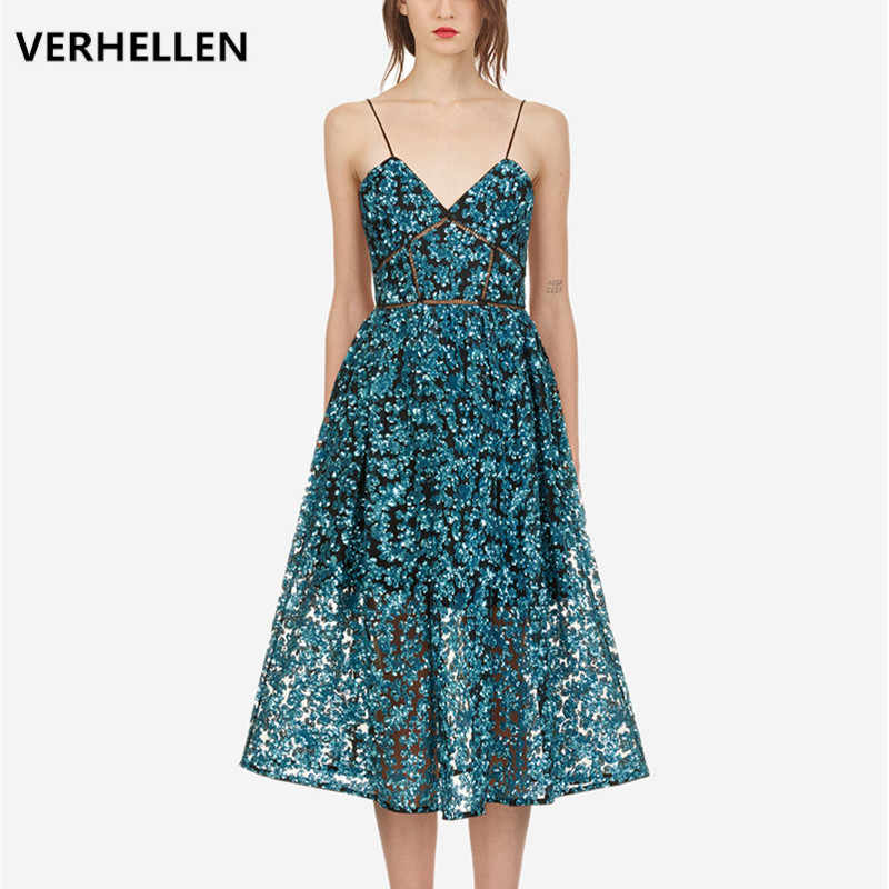 VERHELLEN High Quality Self Portrait Dress 2019 Summer Women's Sleeveless V-Neck Hollow Out Embroidery Sexy Backless Party Dress