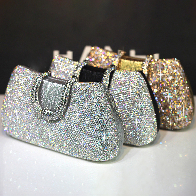 Women Crystal Handbags Clutch Bags Luxury Totes Retro Evening Bag Gold Wedding Bride Chain Purse Ladies