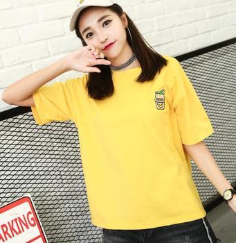 2018 verano nueva camiseta coreana suelta de manga corta bordado letras color sólido cuello redondo top