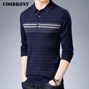 Image 2 - Coodrony 브랜드 스웨터 남성 니트웨어 당겨 옴므 턴 다운 칼라 풀오버 셔츠 남자 가을 겨울 따뜻한 면화 스웨터 91040