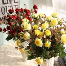 3 Heads Latex rose small buds Artificial Flowers Real Touch Flowers, Home decorations for Wedding Party or Birthday