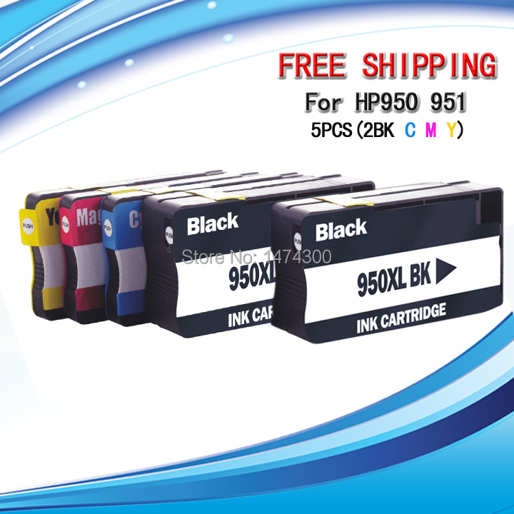 5 Pack Ink Set for HP950XL 951XL with Chip show ink level High Yield Chip for HP OfficeJet Pro 8100 8600