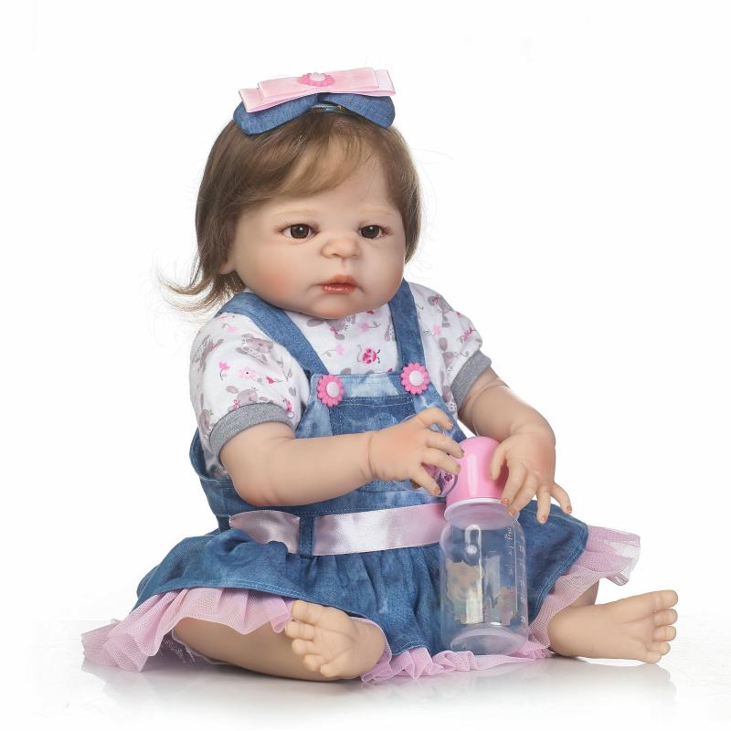 22 Real bebe girl reborn dolls full body silicone reborn baby dolls rooted smooth hair  child present gift toy  bonecas  22 Real bebe girl reborn dolls full body silicone reborn baby dolls rooted smooth hair  child present gift toy  bonecas