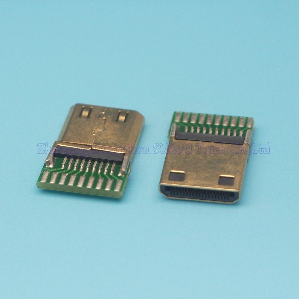free shipping 20pcs/lot HDMI male Jack 19pin Connector sockect C type19+1pin jack with PCB board Mini HDMI plug