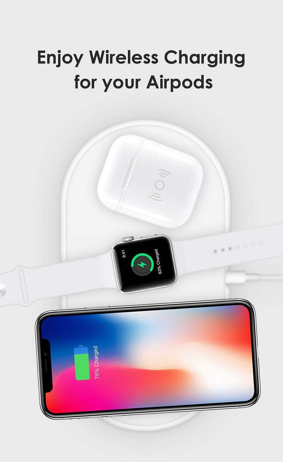 适用于Apple Airpods的无线充电接收器外壳QI标准空气无线接收器兼容任何无线充电器(3)