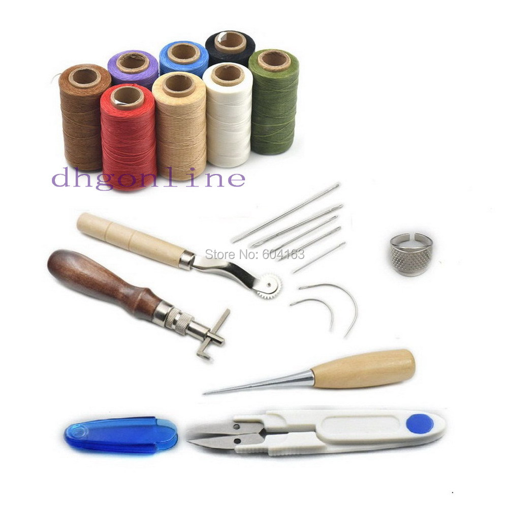 7 Pcs Hand Sewing Tools Leather Carft Stitching Kit Thread Awl Waxed Thimble Ring|Sewing Threads|   - AliExpress