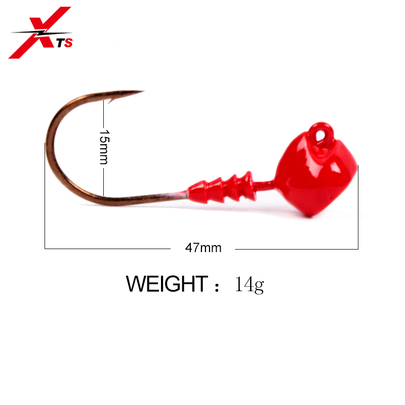 XTS 2 Pieces Bag Exposed Lead Jig Head Barbed Hook Jigging Hook Fishing Hook 47mm 14g 3 Colors Available Fishing Lure Model 3301 in Fishing Lures from Sports Entertainment