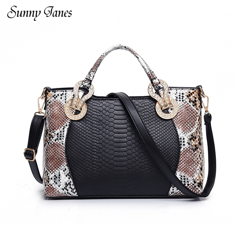 Luxury Design Women s font b Handbag b font PU Snake Print Shoulder Bag Large Capacity