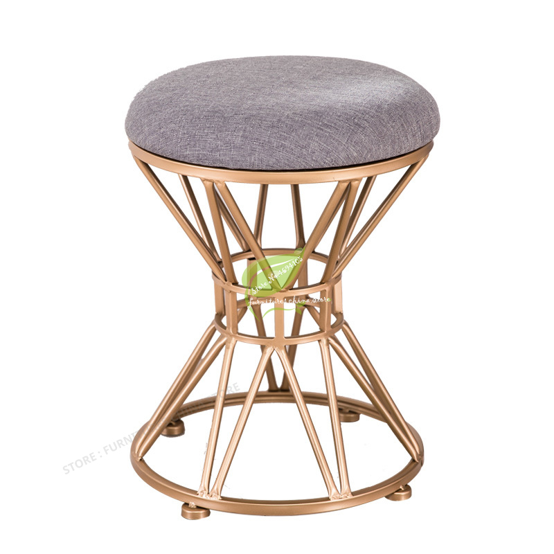 meubles de chambre nordique tabouret en fer forge pouf tissu couverture chaussure banc coiffeuse chaise ongle maquillage tabouret