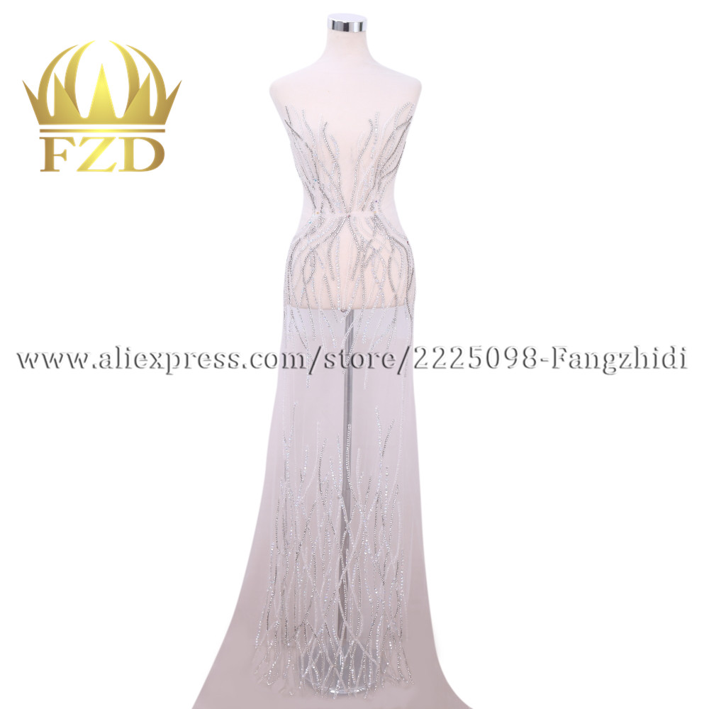 Fangzhidi Fashion Evening dress Large Size Hand made Rhinestone Patches For Wedding Dress DRA 108