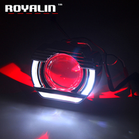 ROYALIN LED Angel Eyesl DRL Hole Ring Flatboy Shrouds Mini BI Xenon Projector Lens H1 2.5 inch For H4 H7 Car Styling Head Lights