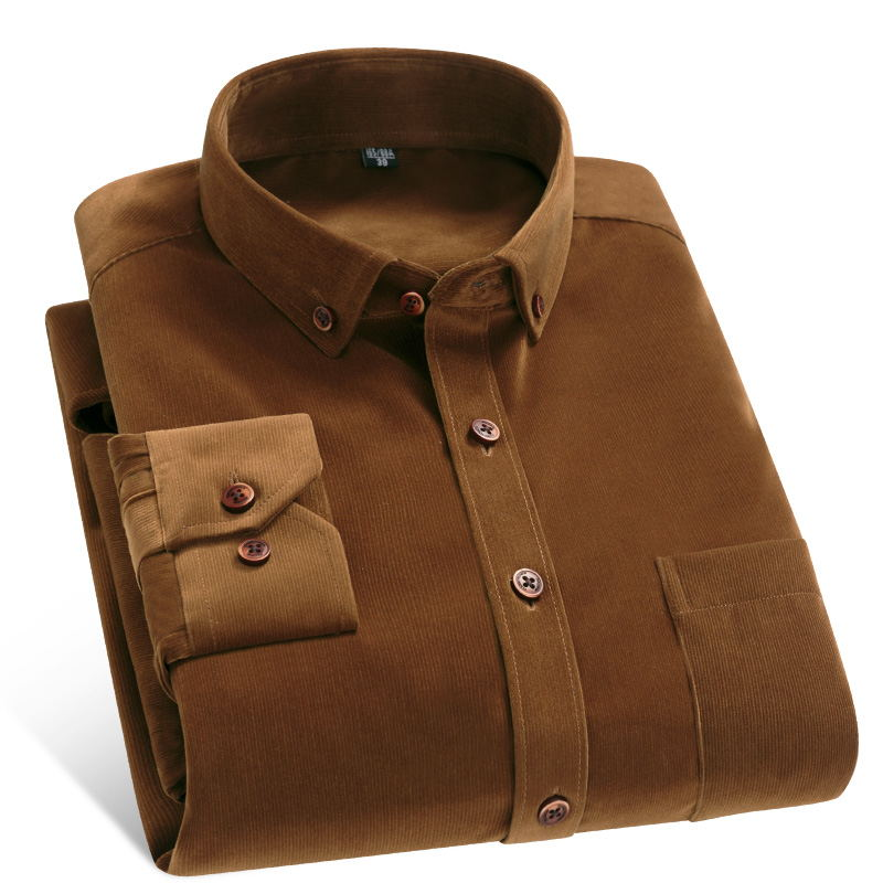 camisa Spring/Autumn Men Shirt High Quality Corduroy Long Sleeve Solid Comfort Soft Casual Brand Clothes Man Shirt Plus Size 4XL