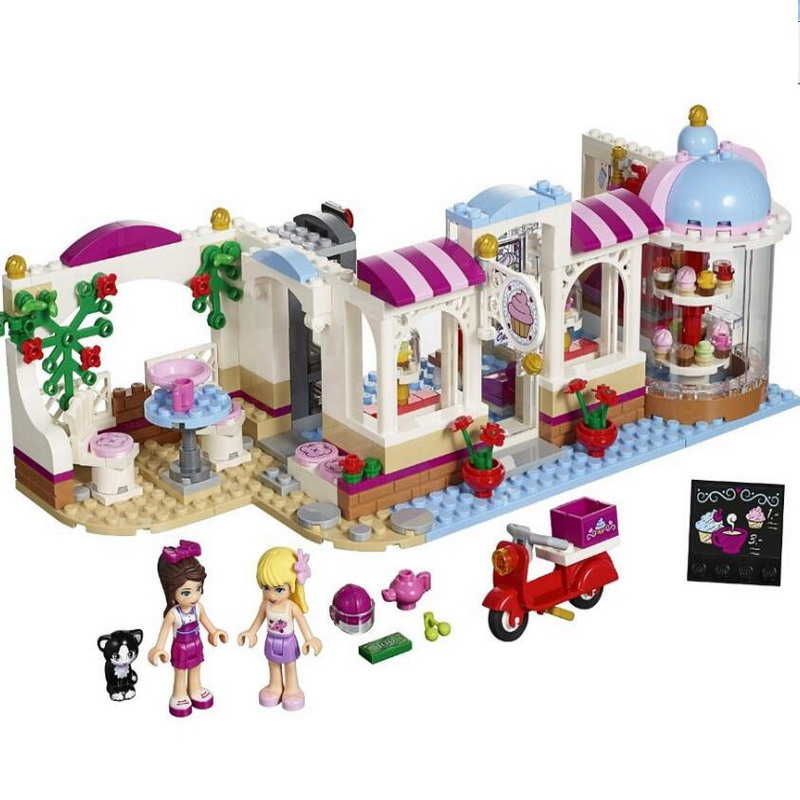 10496 BELA Friends Series Heartlake Cupcake Cafe Model Building Blocks Enlighten DIY Figure Toys For Children Compatible Legoe decool 3117 city creator 3 in 1 vacation getaways model building blocks enlighten diy figure toys for children compatible legoe