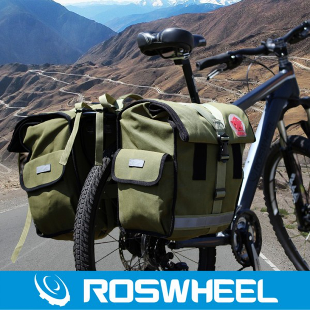 ROSWHEEL Retro Canvas Bicycle Carrier Bag 50L Rear Rack Trunk Bike Luggage Back Seat Pannier Cycling Storage Two Bags 14686 conifer travel bicycle rack bag carrier trunk bike rear bag bycicle accessory raincover cycling seat frame tail bike luggage bag