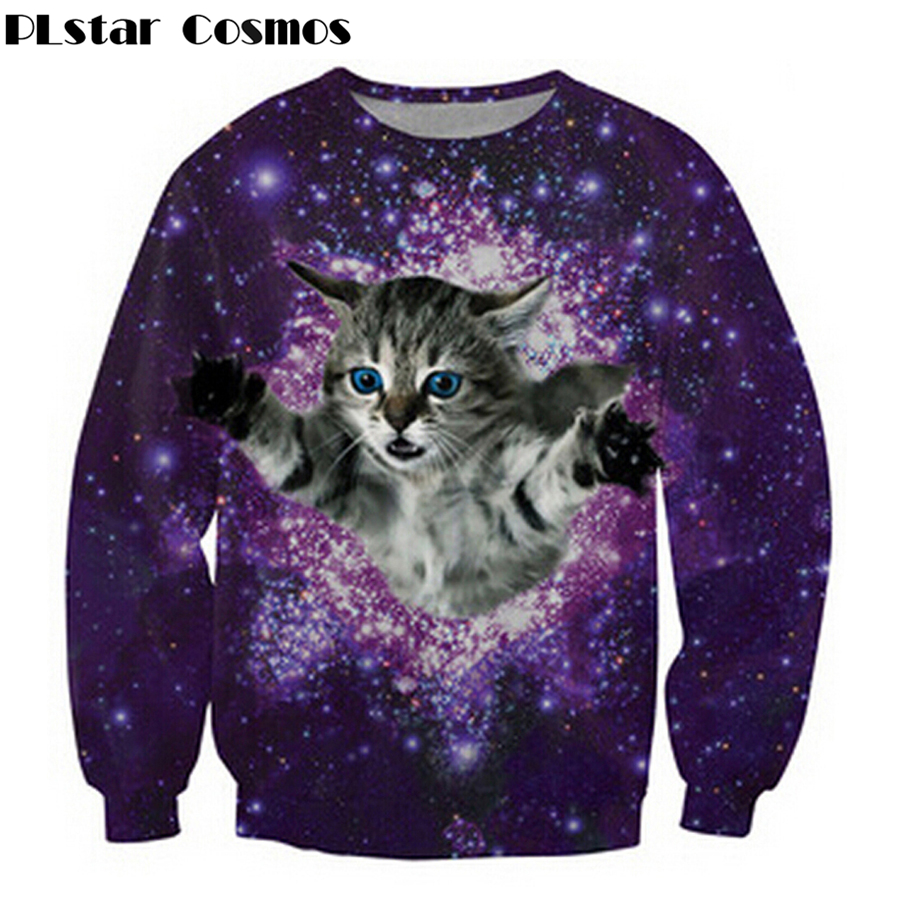2018 New Women Men Unisex 3d Sweatshirt Cartoon Wacky Fuzzy Cat Explore Space Galaxy Hoodies Harajuku Tracksuit Size S-5XL