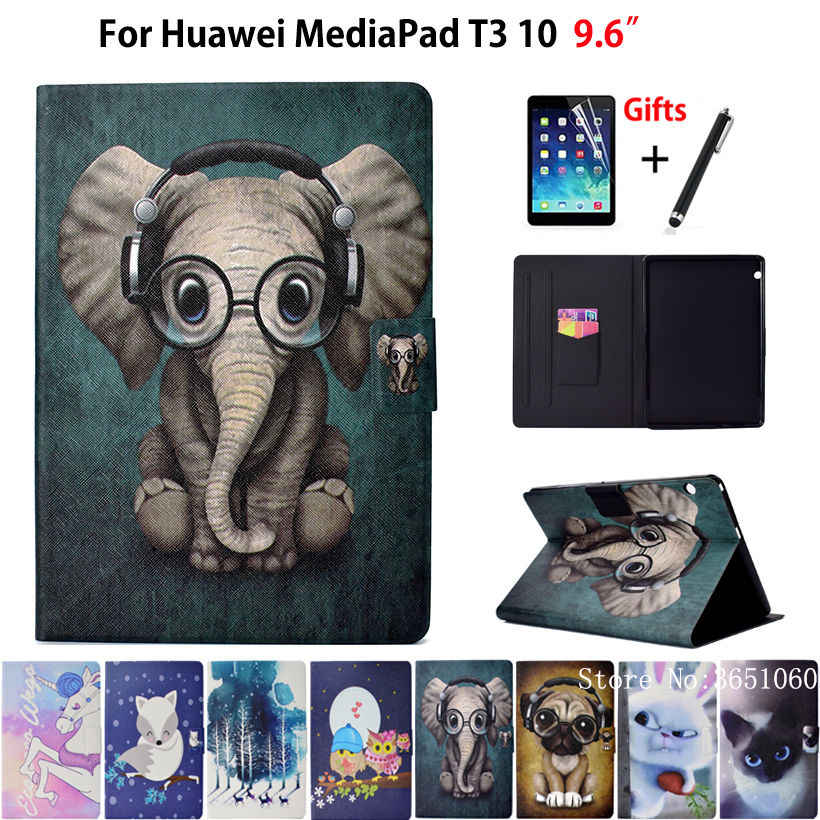 "Case For Huawei MediaPad T3 10 AGS-L09 AGS-W09 AGS-L03 9.6"" Cover Funda Fashion Animal Silicone PU Leather Stand Skin+Film+Pen"
