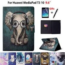 Чехол для huawei MediaPad T3 10 AGS-L09 AGS-W09 AGS-L03 9,6 «обложка чехол для телефона животных силиконовый искусственная кожа Стенд кожи + пленка + ручка