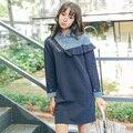 [Chicever] 2017 primavera manga longa solto dress bordados digitais babados patchwork falso duas peças vestidos de festa das senhoras das mulheres
