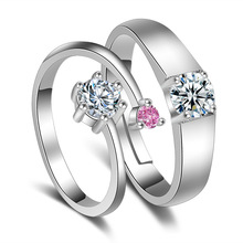 100% 925 sterling silver romantic shiny crystal lovers`wedding couple rings jewelry female male finger ring wholesale no fade