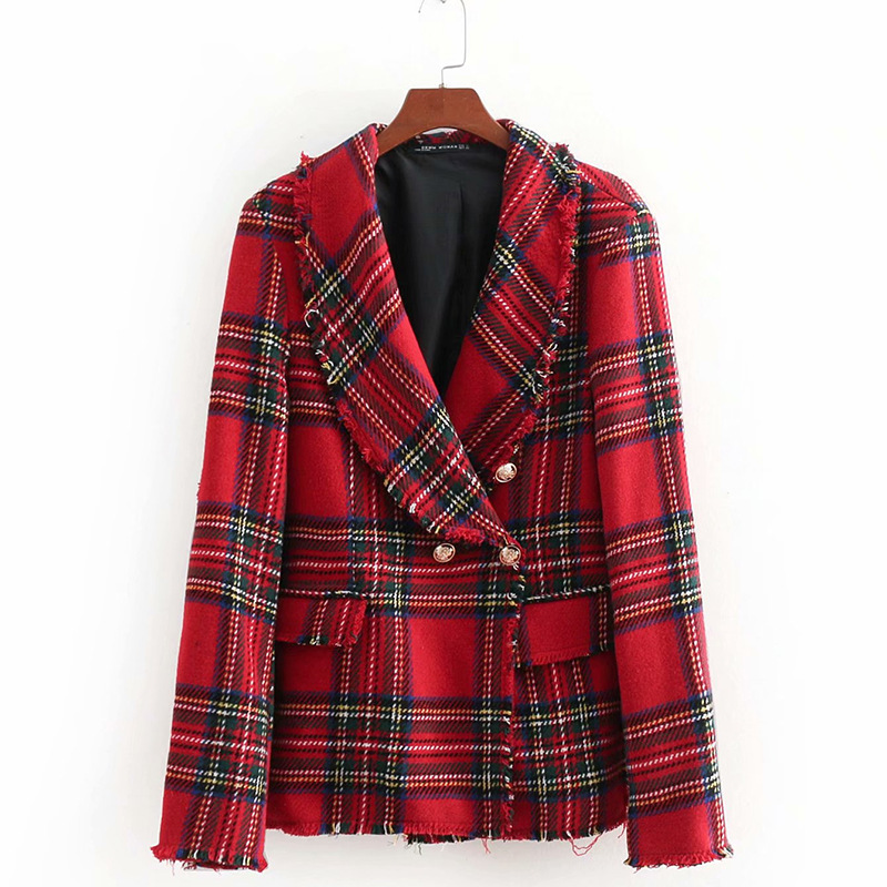 Spring Autumn Twisted Soft Tweed Red Plaid Long Suit Women Jacket  Double Breasted  Notched  Office Lady Long Sleeve Blazers