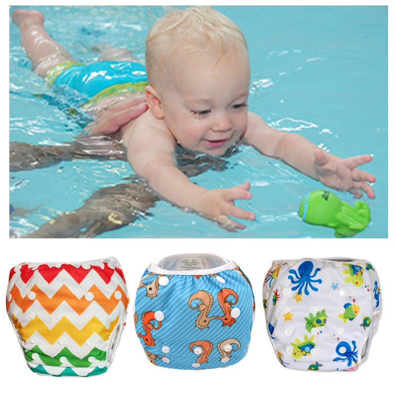 Baby Swim Diaper Unisex Training Pant Cute Cartoon Toddler Swimming Nappies Summer Swimwear Board Short Trunks Free Shipping
