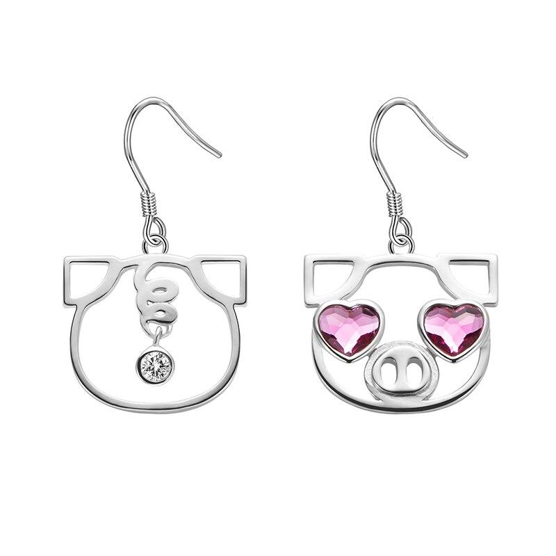 LEKANI 2019 creux asymétrie mignon cochon tête rouge amour coeur yeux cristaux de Swarovski goutte boucles d'oreilles pour femmes dames bijoux