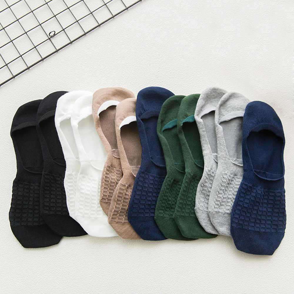 1Pair Fashion Summer Autumn Men Boat Socks Non-slip Silicone Invisible Cotton Socks Male Ankle Casual Sock