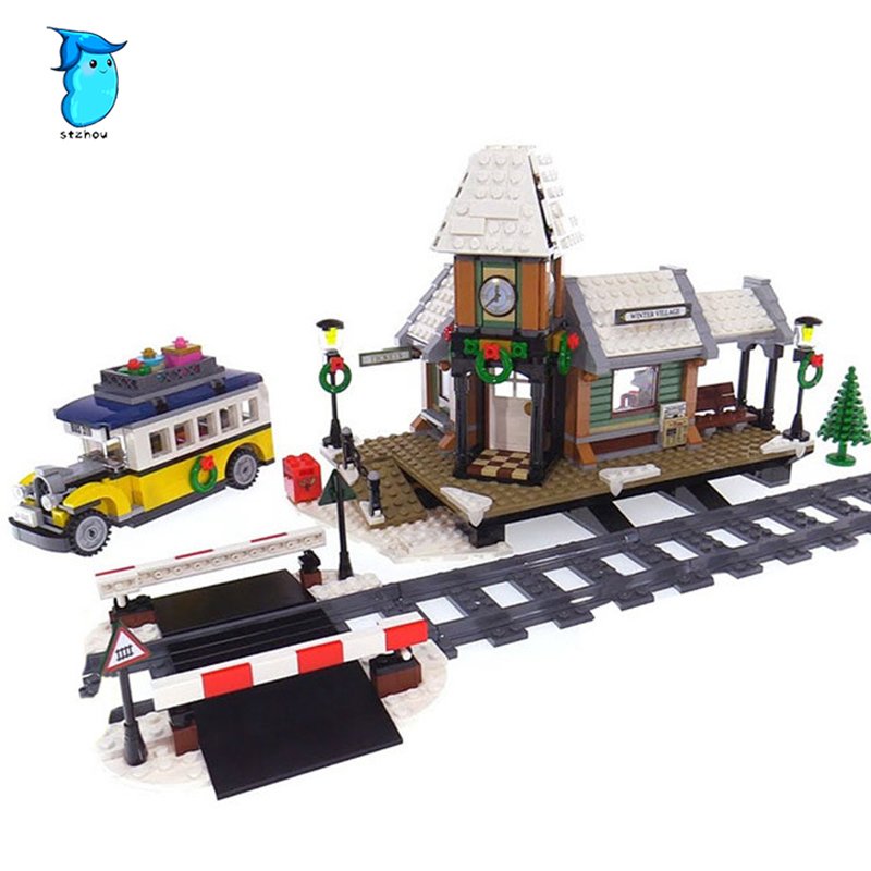 36011 1010pcs Creator series The Winter Village Station Model Building Blocks Compatible classic architecture Toy for children lepin 36011 creative series 1010pcs legoinglys village station model sets building nano block bricks toys diy for boy girls