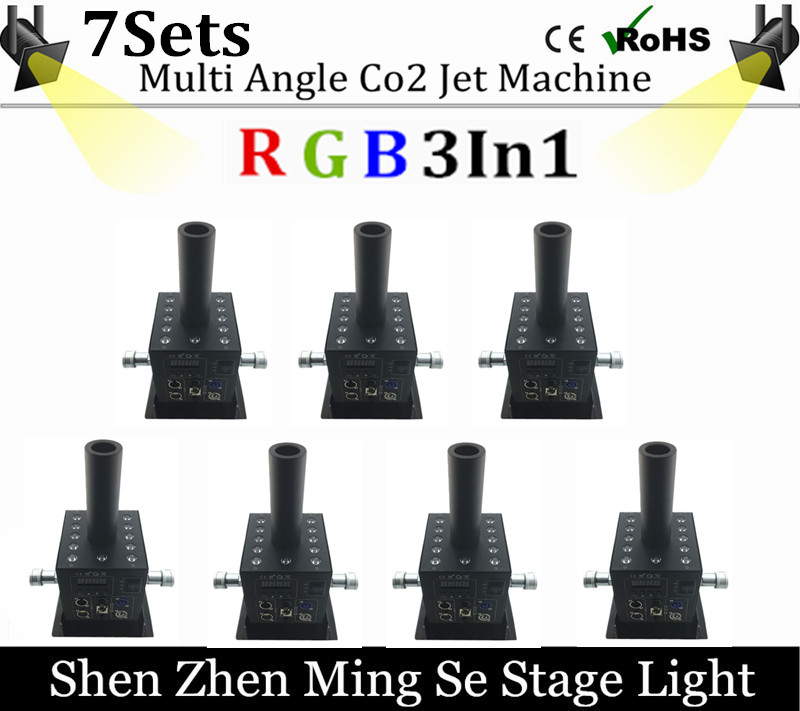 7pcs/lots 12x3w Led Multi Angle CO2 Jet DMX Adjustable Powercon Stage CO2 Device High Pressure Hose Multi Angle DJ CO2 Cannon grad co asst 3 3 4 multi