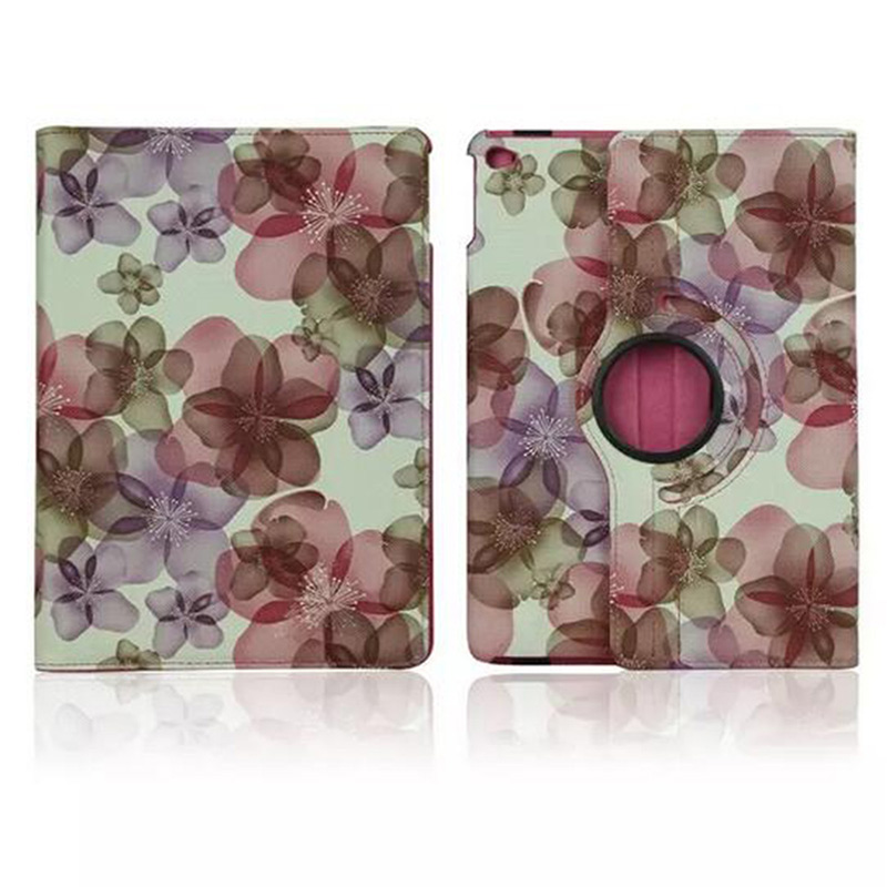 ocube DHL/EMS 360 Degree Rotating Folio Stand Cover Flower Floral PU Leather Case Cover For Apple iPad 6/ iPad Air 2 9.7 Tablet ems free shipping 3d photo shop display rotating turntable 360 degree mannequin photography stand