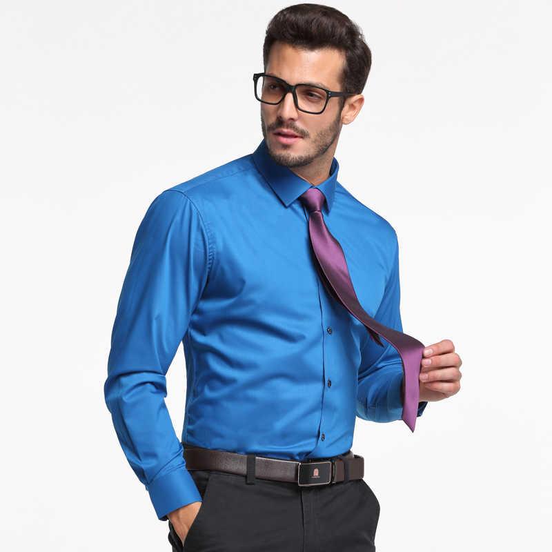 Мужская рубашка из бамбукового волокна, однотонная классическая эластичная формальная деловая рубашка с длинными рукавами, не требует особого ухода, базовая одежда для офиса/работы