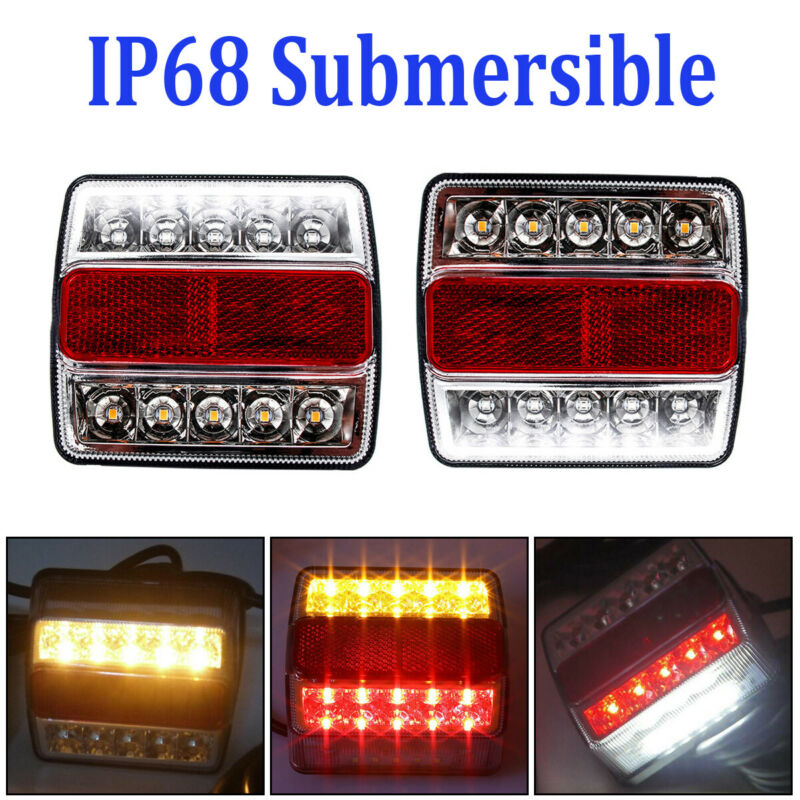 2Pcs Rear LED Submersible Trailer Tail Lights Kit Boat Marker Truck Waterproof Universal 12V 15LED Campers Trailer Taillights(China)