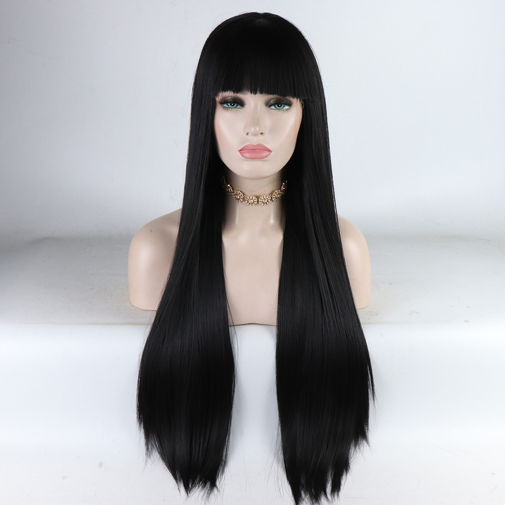 Fantasy Beauty Long Natural Straight Lace Front Wig With Bangs Black Fake Hair Glueless Heat Resistant