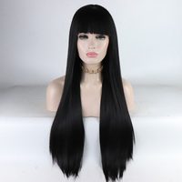 Fantasy Beauty Long Natural Straight Lace Front Wig With Bangs Black Fake Hair Glueless Heat Resistant Synthetic Hair Wigs