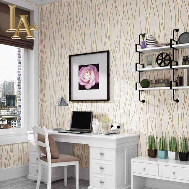 Simple Bedroom Wallpaper aliexpress : buy fashion simple beige geometric modern striped