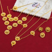 Fashion Big Size Ethiopian Jewelry Sets With Hair Pcs 24k Gold Plated Ethiopian Women Set