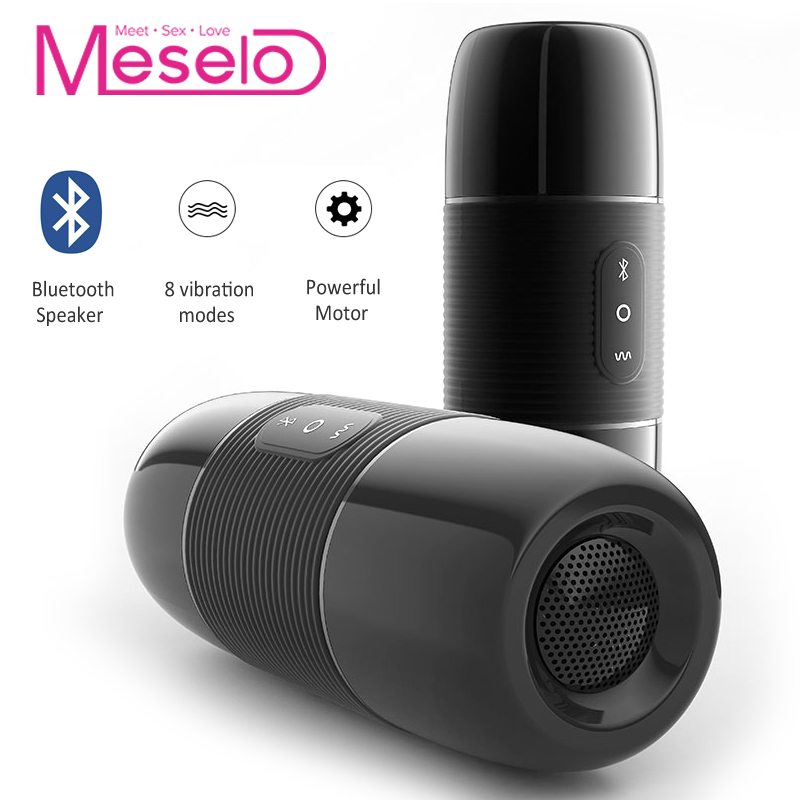 все цены на Meselo Bluetooth Audio Male Masturbator For Man 10 Modes Vibrator Bluetooth Speaker Artificial Vagina Pussy Sex Toys For Men NEW