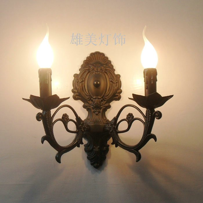 Lamps fashion antique rustic ofhead double slider brief iron 2 personalized candle wall lights modern brief fashion ofhead lamps table lamp