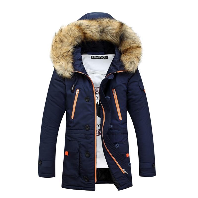 ФОТО Brand Men's Duck Down Jackets 2017 Winter Luxury Big Fur Collars Business Casual Parka Men  Hooded Thickening OverCoat
