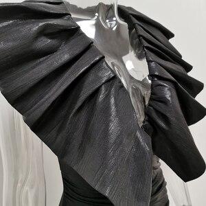 Image 5 - JillPeri Dianna Schwarz Übertrieben Krause Strukturierte Kleid Frauen Stretch Metallic Wet Look Solide Outfit Promi Party Mini Kleid
