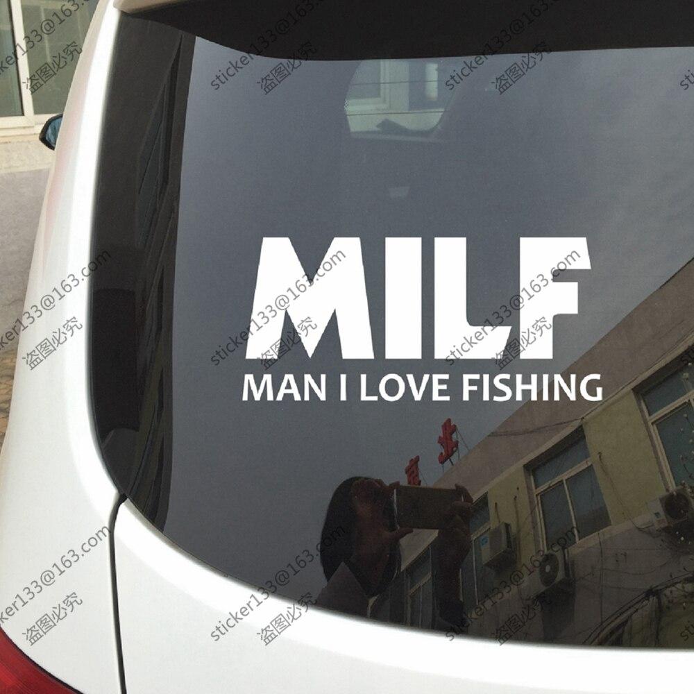 Milf homme je aime la pêche drôle vinyle autocollant de pare chocs de voiture autocollant choisir votre taille et couleur dans autocollants de voiture de