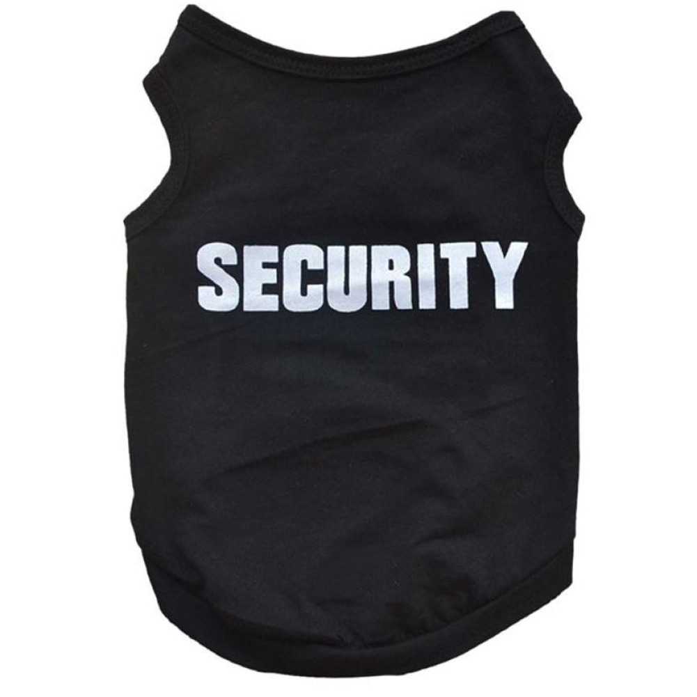 Black t shirt security - Newly Pet Black Vest Costumes Summer Coat Small Dog Cat Puppy Security T Shirt Pet Clothes Apparel Costumes Pet Accessories