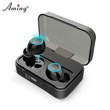 AMINY Bluetooth 5.0 Wireless Earphones Deep Bass Stereo Sound Touch Control Headset with Charging Case