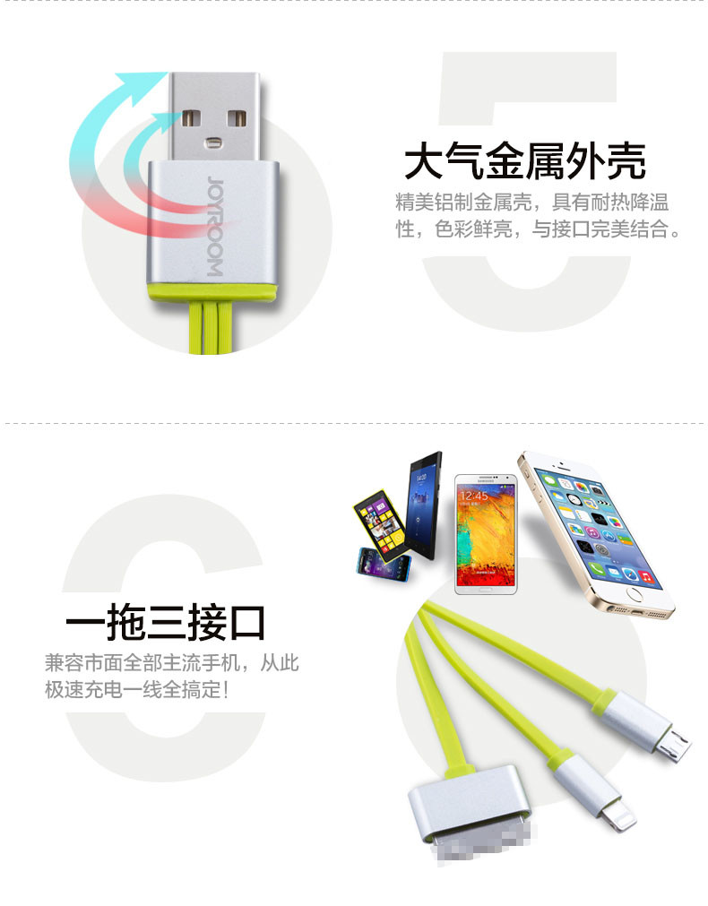 Joyroom I5 Micro USB 30 Pin For 8 Pin Lightning Cable 3 In 1 Cable For iPhone 4 (9)