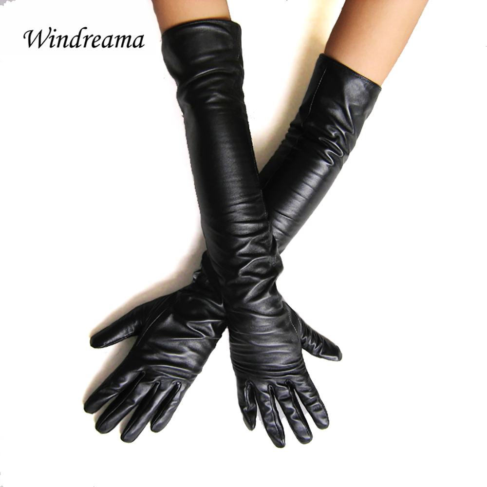Windreama Women's faux leather long gloves ultra long belt long design fashion women's leather gloves women 50cm