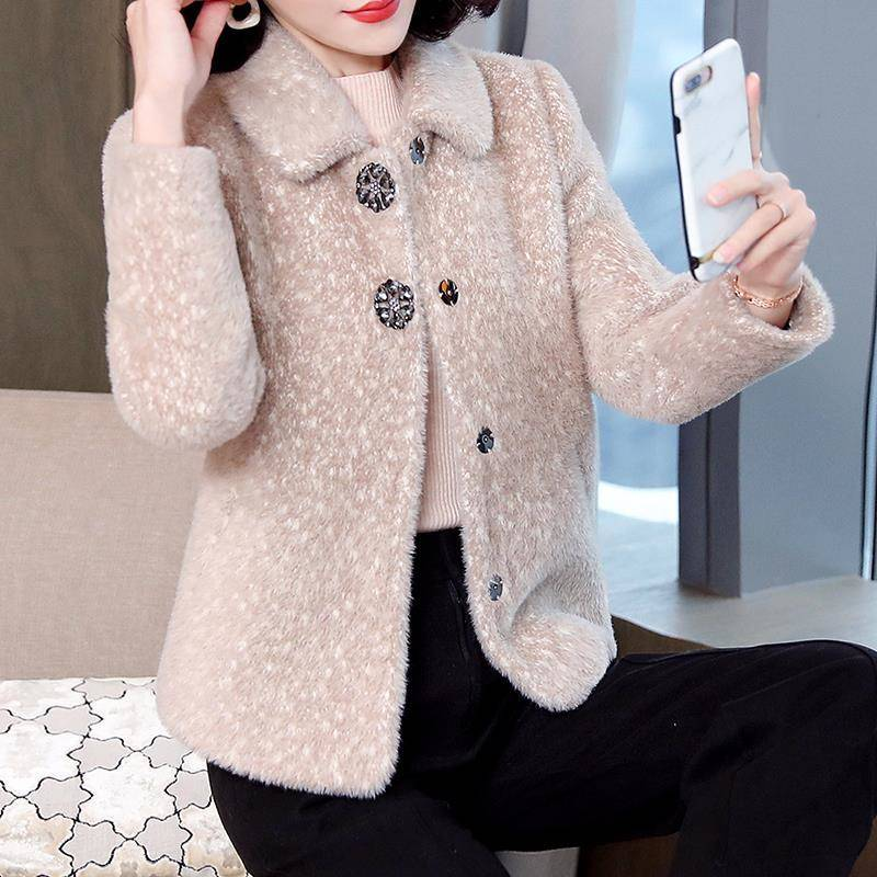2019 Female Faux Fur Coat Women Mink Fur Autumn And Winter New Gold Velvet Outwear Woolen Jacket