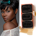 27 Pieces Short Hair Weave With Free Closure Brazilian Virgin Human Hair Short Bump Weave Real Human Hair Extensions