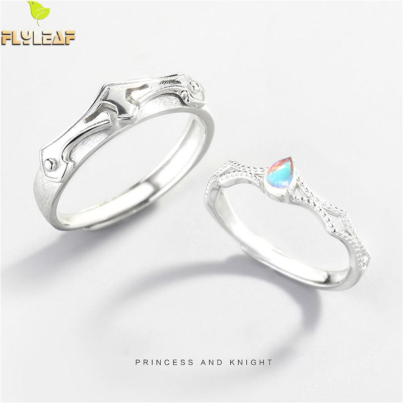 Flyleaf 925 Sterling Silver Princess And Knight Couple Rings For Women Nature Moonstone Fashion Fine Jewelry Open Ring Men