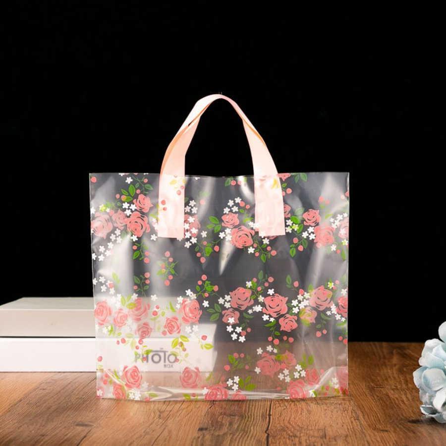 D & P 10Pcs המפלגה לטובת לעבות פלסטיק חתונה לולאה ידית תיק בגדי פלסטיק לשאת תיק יפה תודה אתה מתנה קניות שקיות