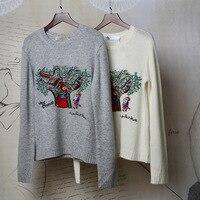 2018 Элитный бренд Для женщин Дерево вышивка свитер пуловеры с длинным рукавом взлетно посадочной полосы Дизайнер Женский трикотажный джемп